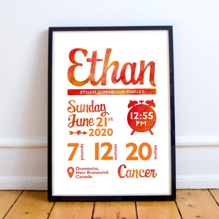 Ethan 8x10 birth print